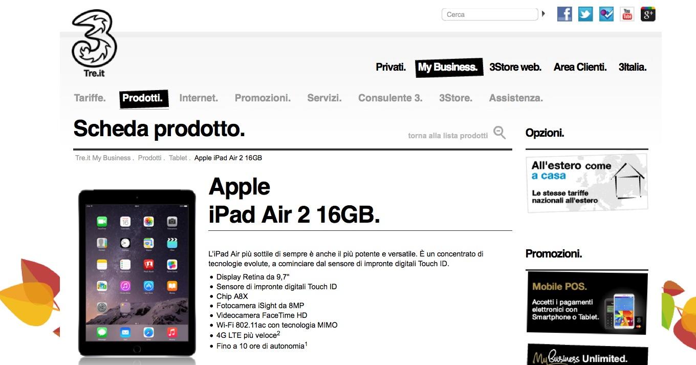 iPad Air 2 Tre Italia