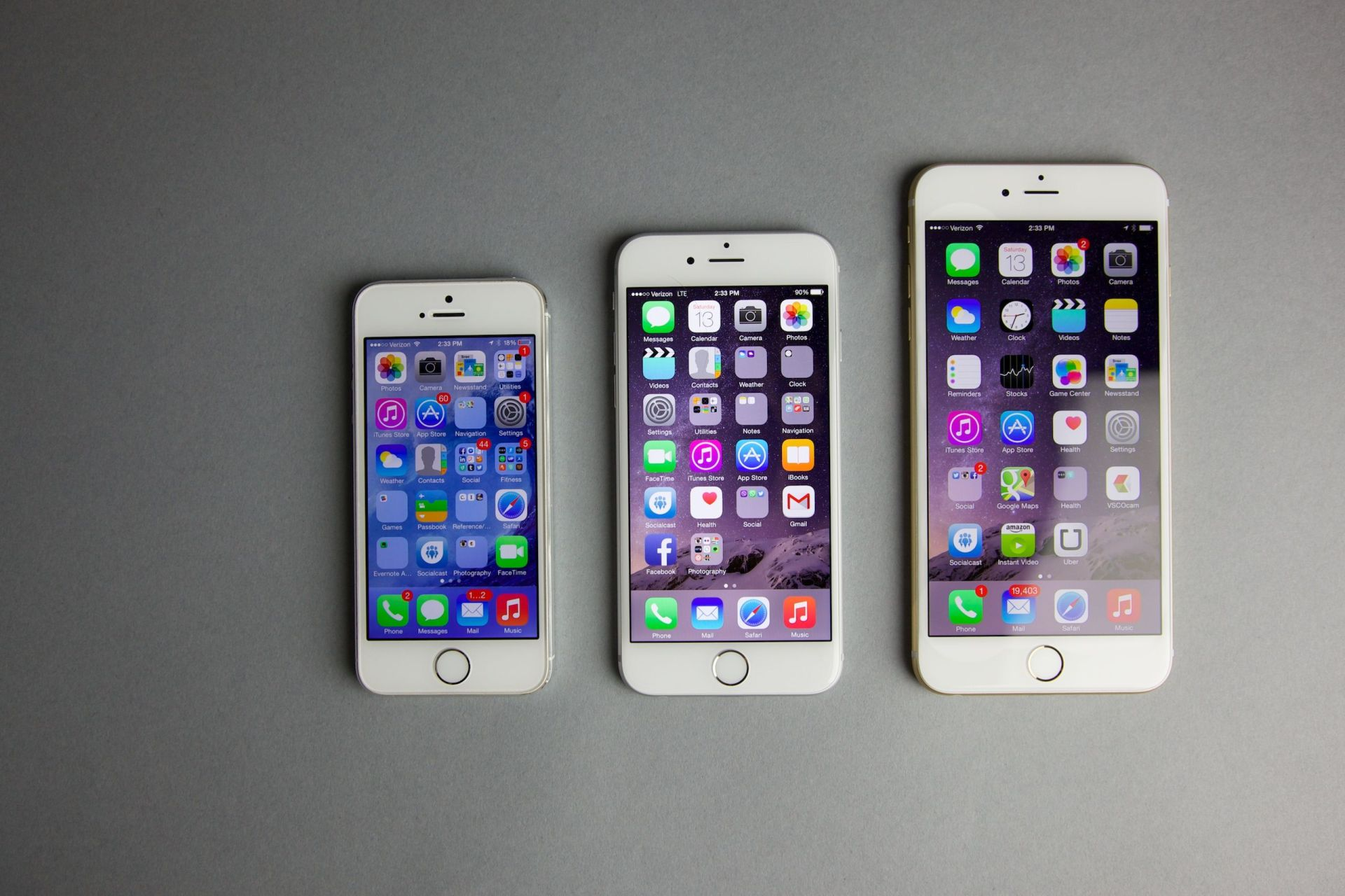 iPhone 5s, iPhone 6 e iPhone 6 Plus