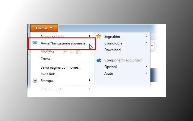navigazione anonima Firefox