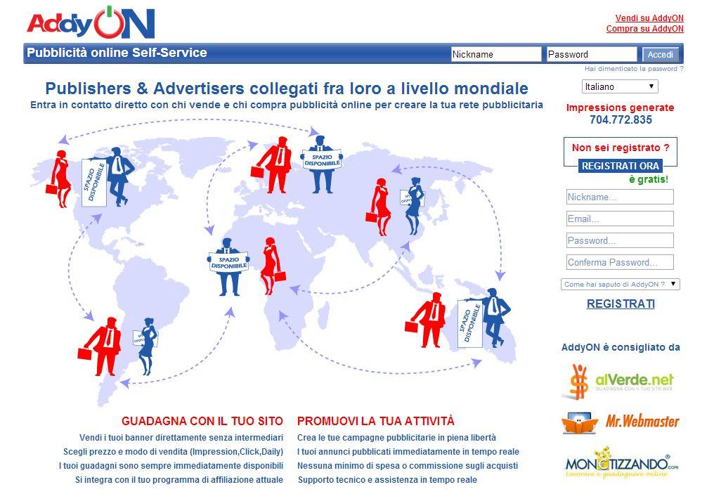 AddyOn, schermata homepage