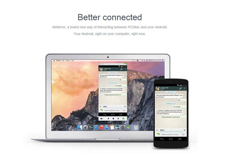 AirDroid per usare WhatsApp su PC Windows e Mac