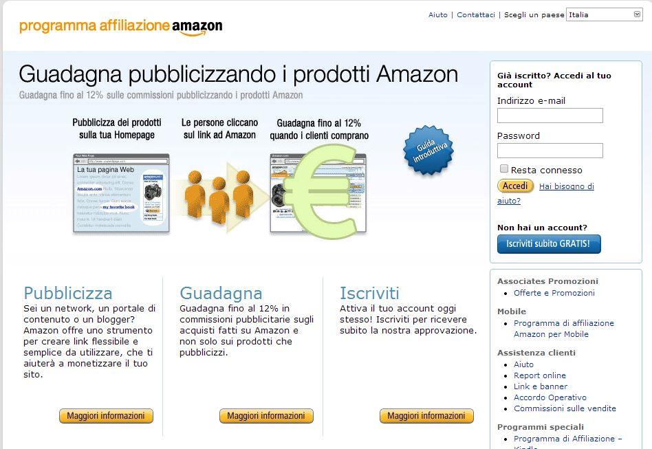 Amazon, schermata affiliazione