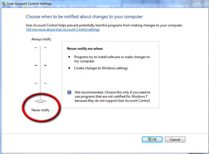 Disattivare UAC su Windows 7
