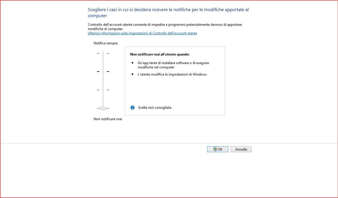 Disattivare UAC su Windows 8 e 8.1
