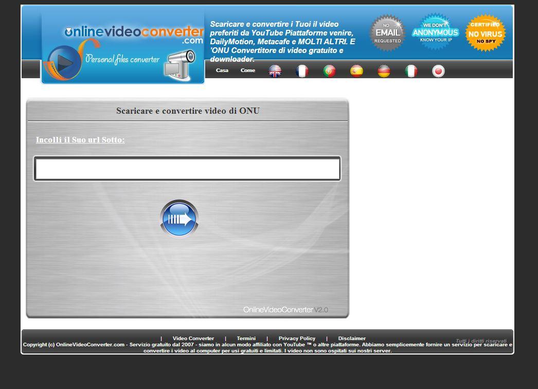 OnlineVideoConverter è un sito che permette la conversione di video da YouTube in formato AVI