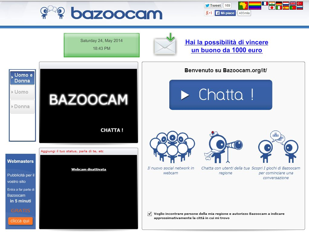Bazoocam homepage