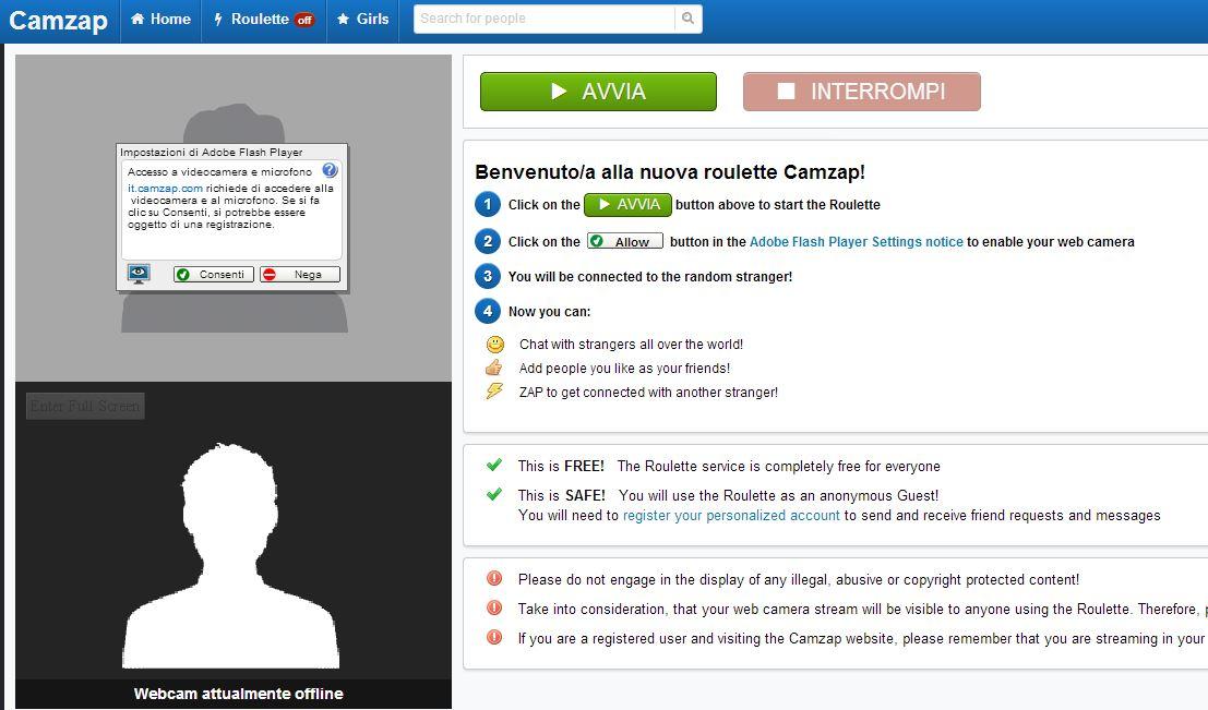 Camzap schermata utente
