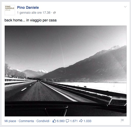 Pino Daniele ultima foto su Facebook