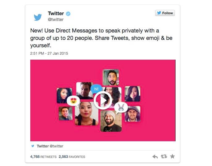 Novità Twitter: Messaggi Diretti di gruppo e registrazione video