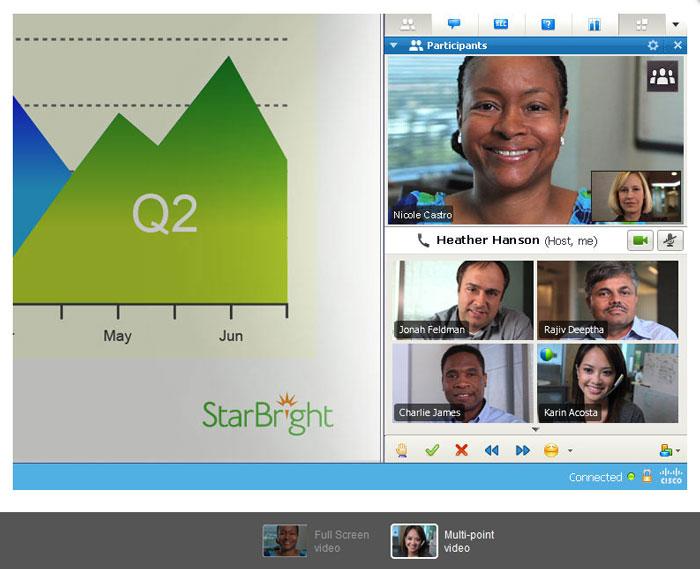Webex schermata videoconferenza