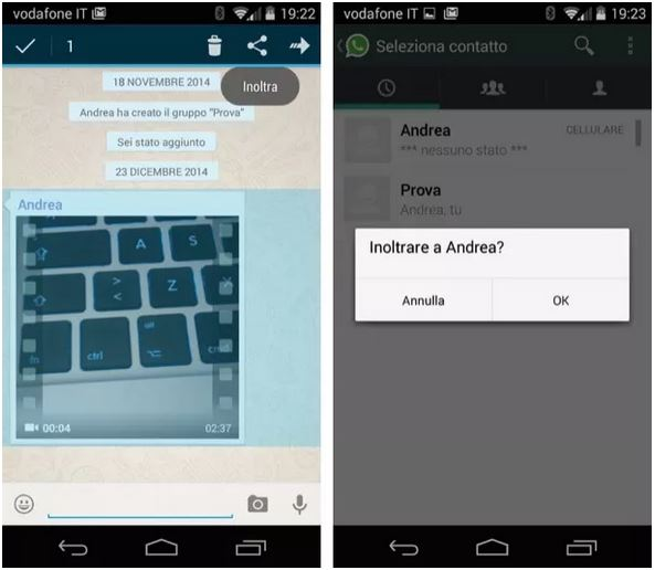 inoltrare video whatsapp android
