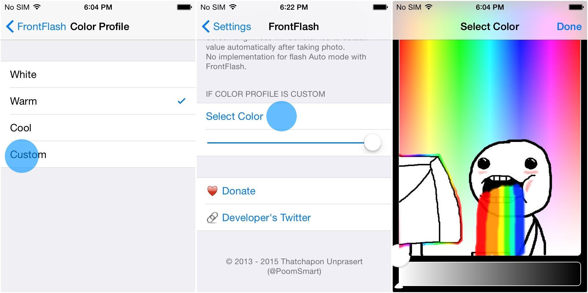 Impostare il colore con FrontFlash