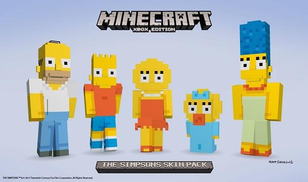 Minecraft con il pack dedicato ai Simpson su Xbox