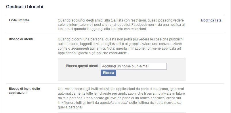 Facebook amici con restrizioni, liste e privacy