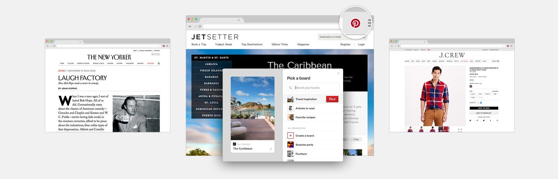 Pinterest e il pulsante per salvare le pagine e le immagini