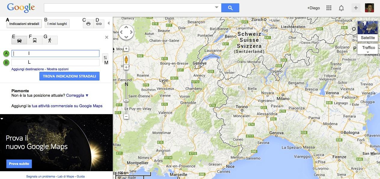 Google Maps calcola percorso