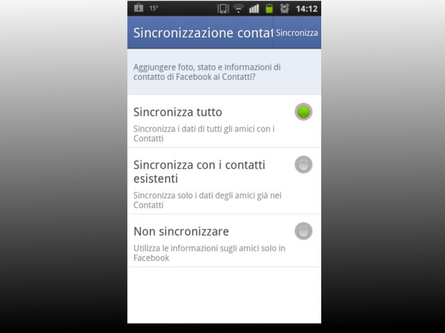 Android sincronizzare Facebook