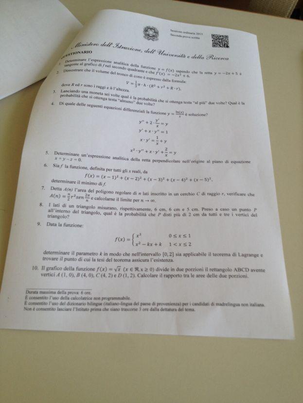 maturita questionario matematica 2015