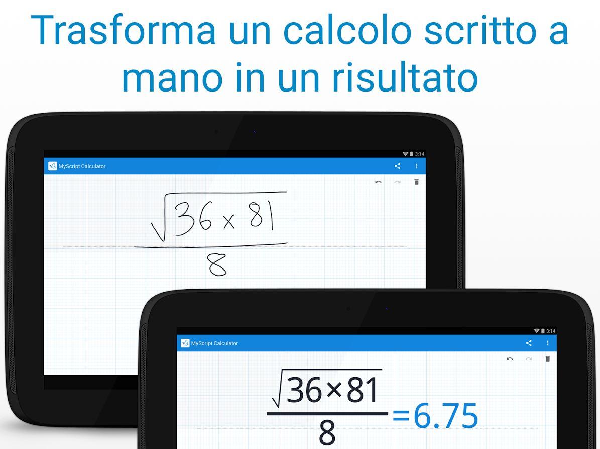 MyScript Calculator per Android e iOS con scrittura a mano
