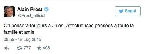 Jules Bianchi è morto: il ricordo su Twitter del pilota di F1