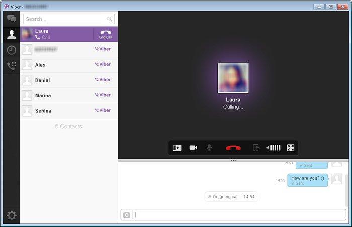 Viber schermata di videochimata e lista contatti