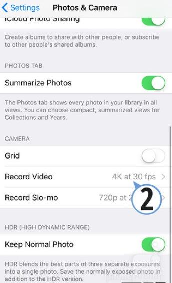 Impostazioni video iphone 6s video 4k
