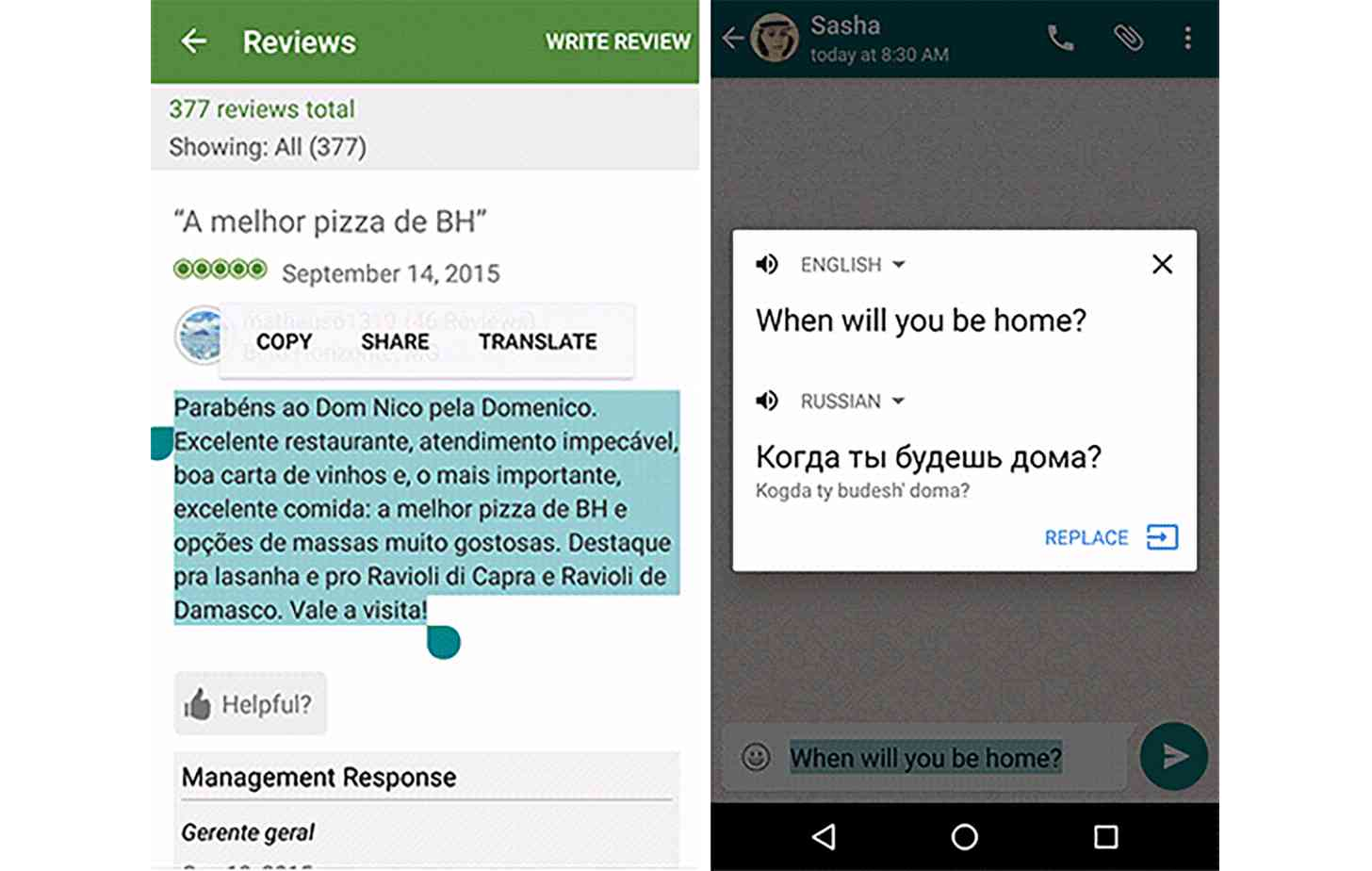 Schermata WhatsApp Google Translate e Marshmallow