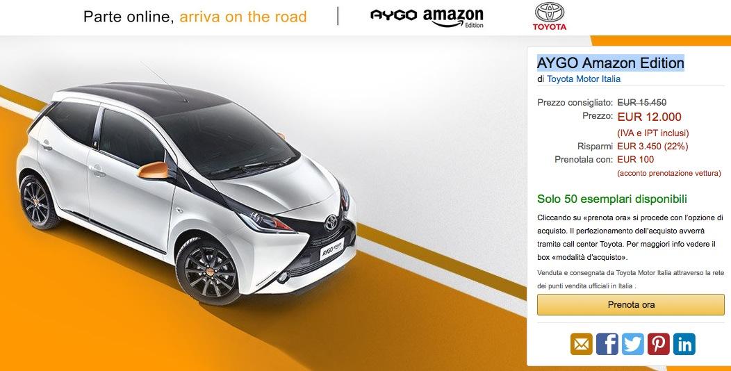 Toyota AYGO Amazon Edition: la prima auto venduta sul portale ecommerce