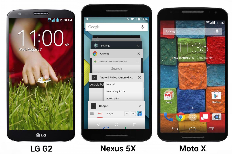 Nexus 5X vs LG G2 e Moto X