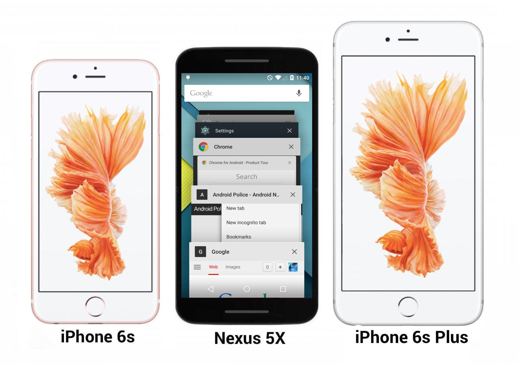 Nexus 5X vs iPhone 6s e 6s plus