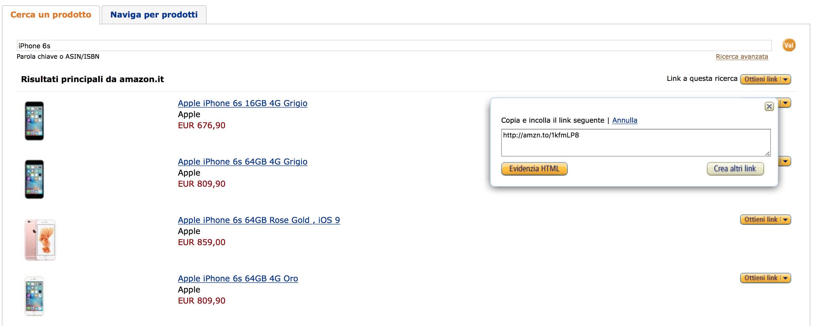 Prodotti programma affiliazione Amazon