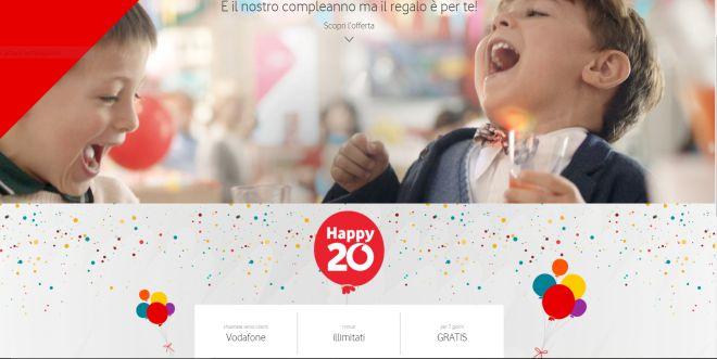 """Promozioni Vodafone: minuti illimitati """"in casa"""" per il 20esimo compleanno"""