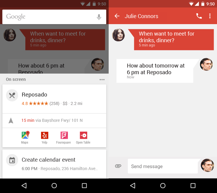 Yelp chat Google Now On Tap
