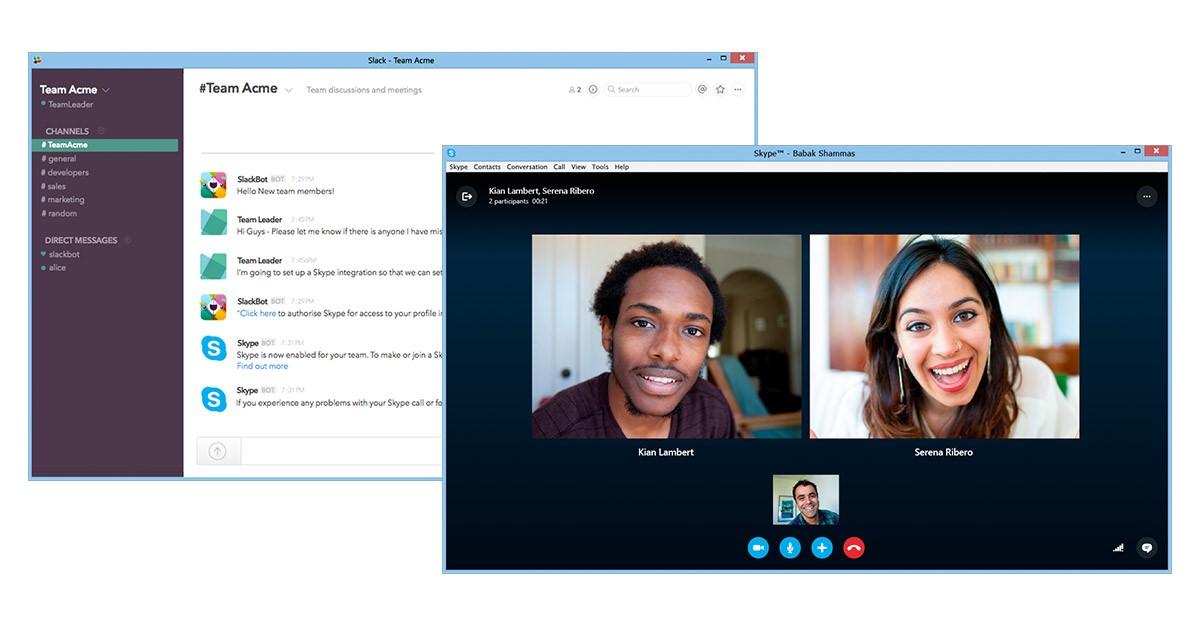 Skype si integra con Slack