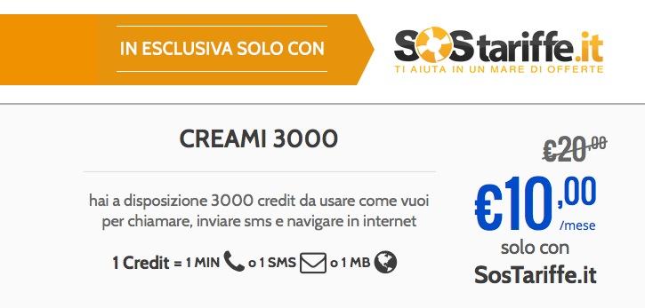 Postemobile Creami 3000 Special: la tariffa a crediti libera