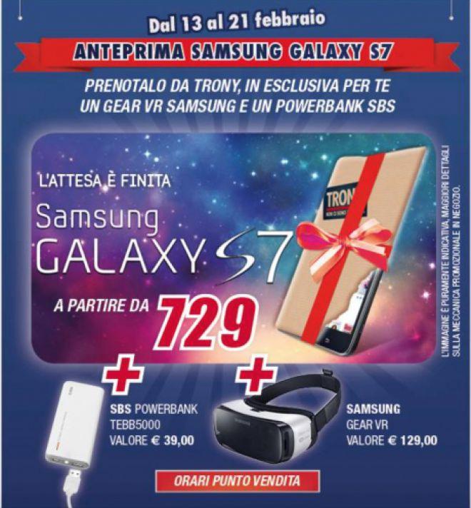 Samsung Galaxy S7 con Trony già in prevendita con Gear VR