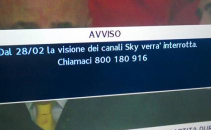 Sky visione canali interrotta dal 28/02