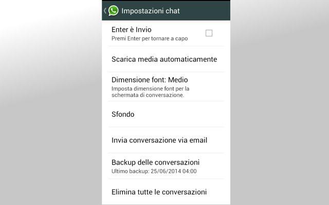 Impostazione sfondo Whatsapp
