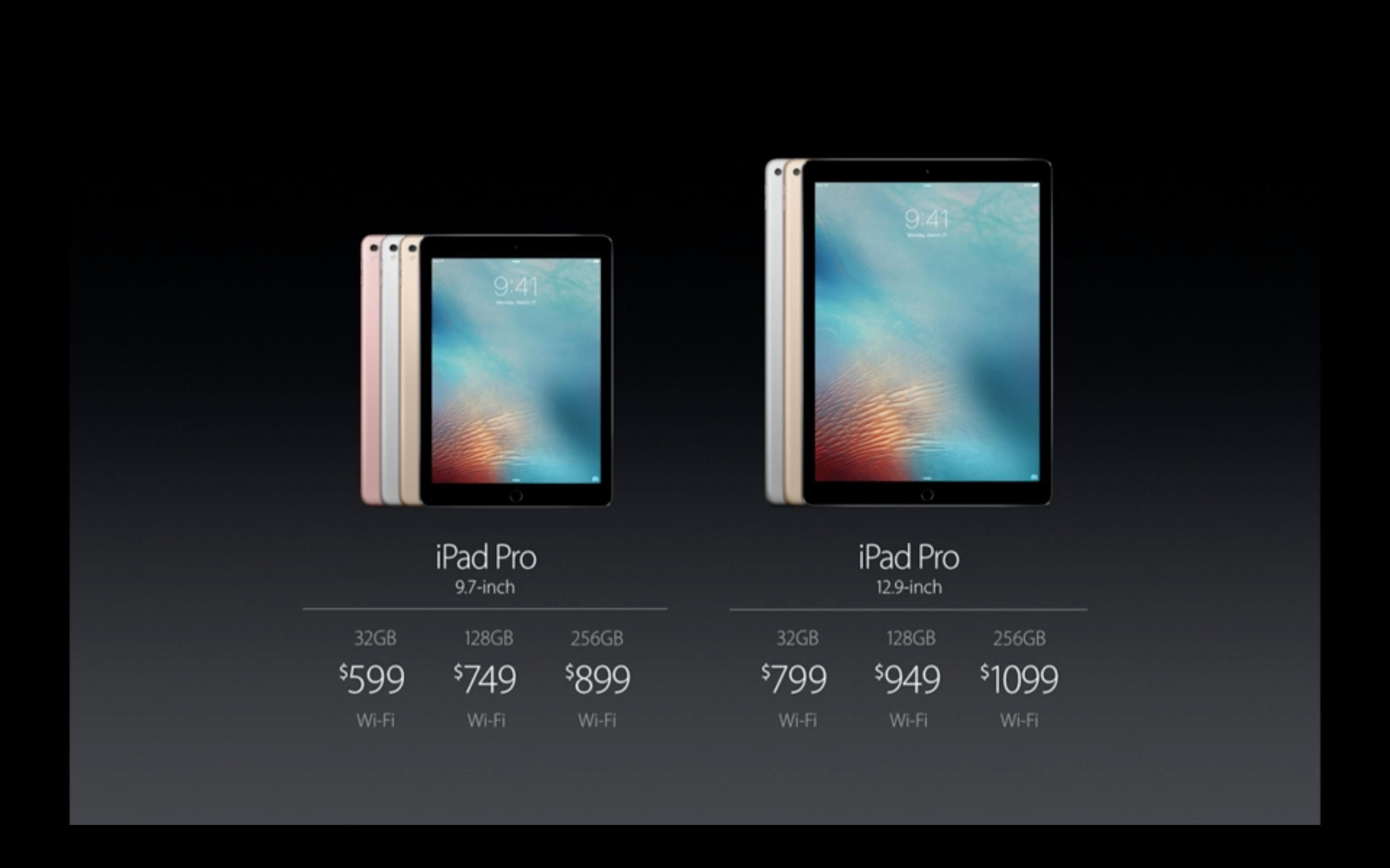 Prezzi iPad Pro da 9.7 e 12.9 pollici