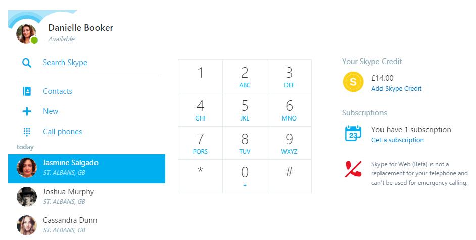 Skype per il web con chiamate mobile e fissi