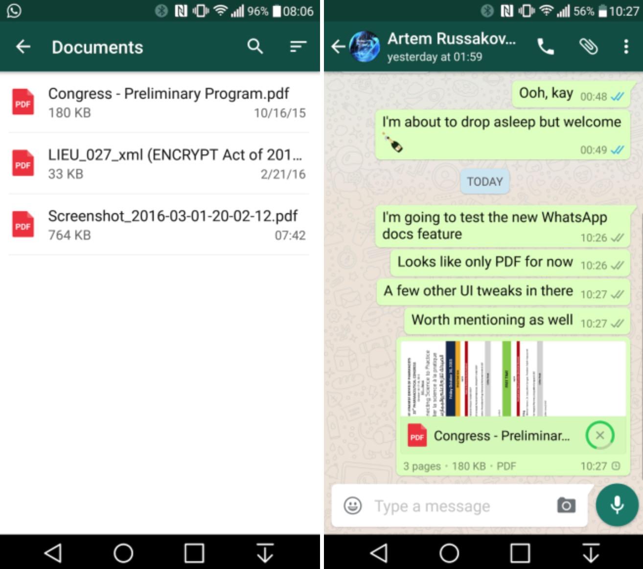 WhatsApp su Android condivisione file PDF