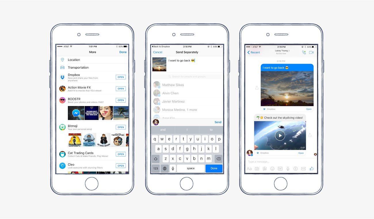 Facebook Messenger integra Dropbox