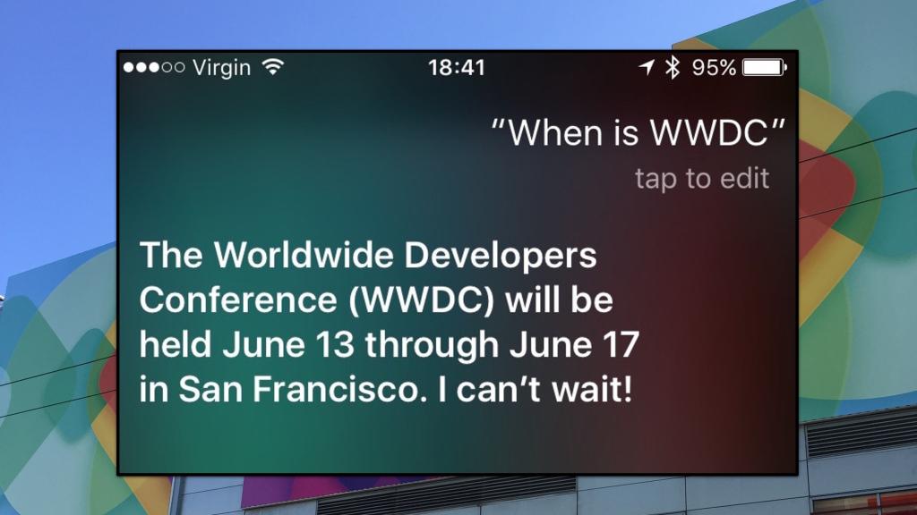Siri annuncia la WWDC 2016