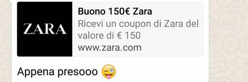 WhatsApp coupon ZARA 150 euro