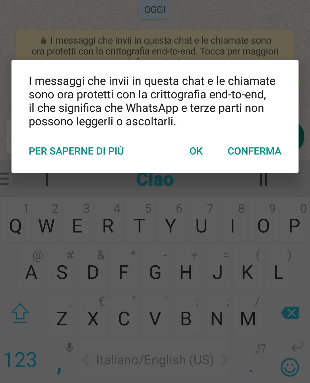 WhatsApp messaggi protetti crittografia end to end
