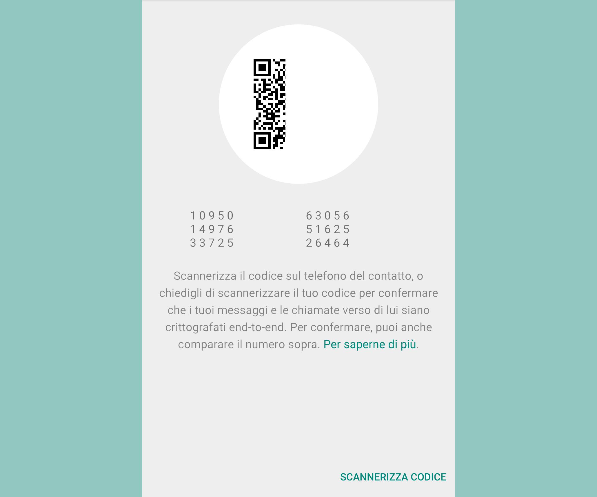 WhatsApp scansione codice
