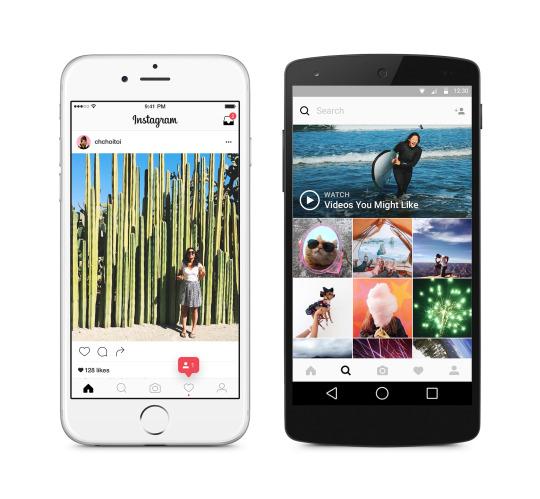 Nuovo design Instagram su smartphone
