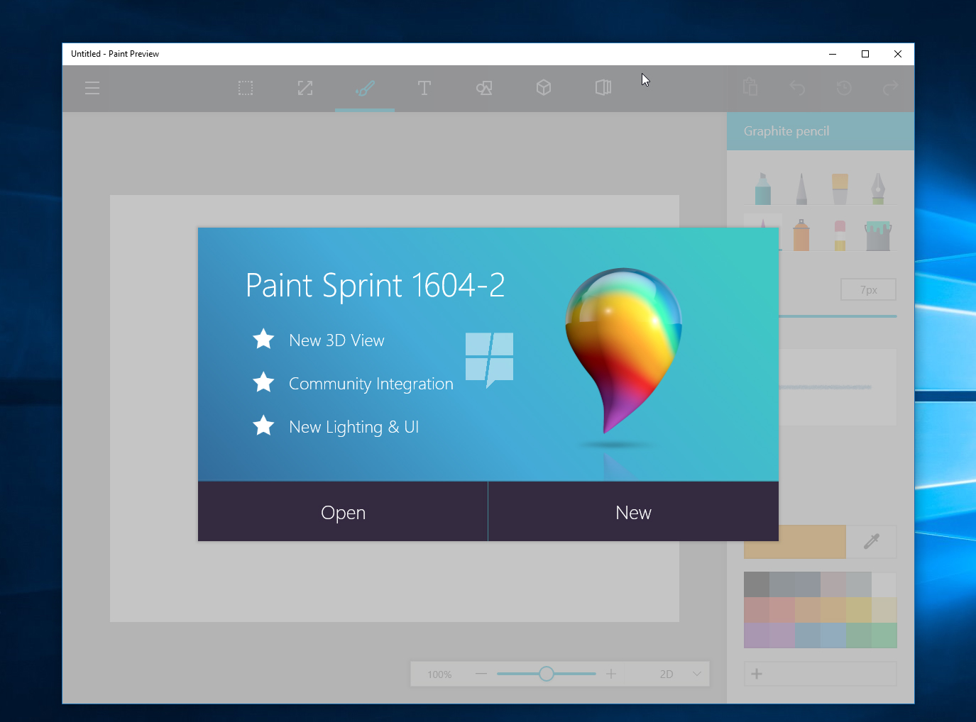 Paint per Windows 10 con Anniversary Update