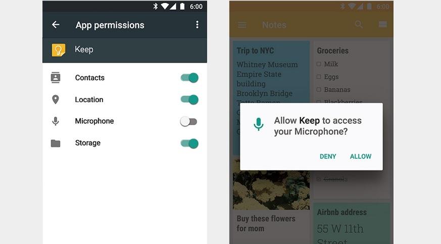 Permessi applicazioni Android 6.0 Marshmallow