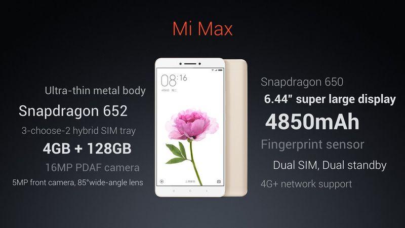 Xiaomi Mi Max specifiche